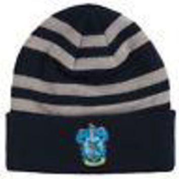 Harry Potter Ravenclaw Crest Logo Licensed Adult Striped Beanie Hat - Blue
