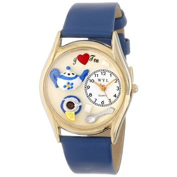 SheilaShrubs.com: Women's Tea Lover Royal Blue Leather Watch C-0310010 by Whimsical Watches: Watches