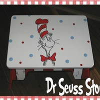 Dr. Seuss Hand Painted Cat in the hat step stool