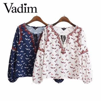 Women sweet vintage flower embroidery shirts bow tie cut out v neck lantern sleeve loose blouse ladies casual tops