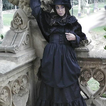 Victorian long skirt - Gothic Lolita - Amish - Steampunk Skirt - Mourning