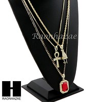 """ICED OUT RUBY ANKH PLUG PENDANT 24"""" 30"""" ROPE BOX CUBAN CHAIN NECKLACE SET S06"""