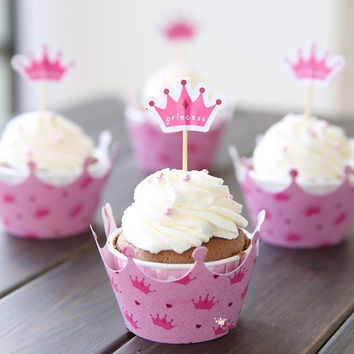 Hot sale pink princess crown cake toppers picks baby girl party birthday decorations supplies baby shower cupcake wrappers N182