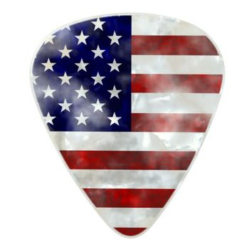 American USA Flag Grunge Retro Monogram Pearl Celluloid Guitar Pick