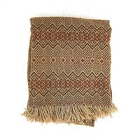 vintage brown striped Wool Amana Camp Blanket / southwestern boho lap throw / twin or cot size