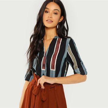 Multicolor Cotton V Cut Neck Striped Shirt Casual Roll Up Sleeve Button Placket Blouse Women Elegant Workwear Tops