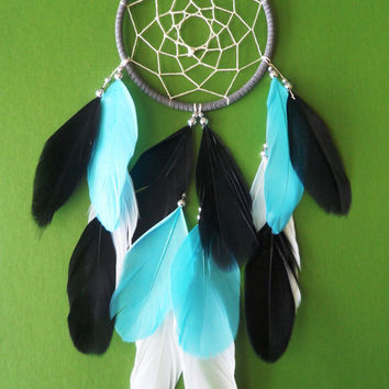 Dream Catcher - Tiffany Blue - Modern - White, Gray, Black