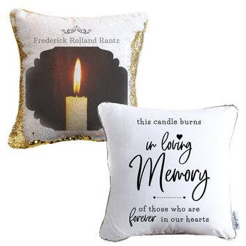In Loving Memory Personalized Photo Sequin Pillow