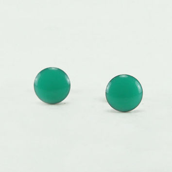 MINT GREEN Stud Earrings - Mint Green Earrings - Mint Green Ear Studs - Mint Green Earrings Stud - Surgical Steel Post - 4mm / 6mm / 8mm