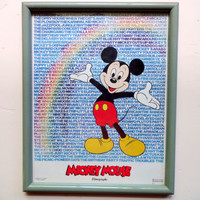Vintage Mickey Mouse Filmography Framed Art 1986
