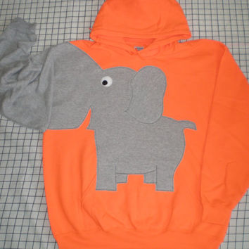 Elephant trunk sleeve HOODIE Flourescent Orange Large
