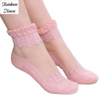 New 2017 Colors Princess Girl Sock Cute Sweet Women Sock Ladies Vintage Lace Ruffle Frilly Ankle Socks Female 4pcs=2pairs/lot