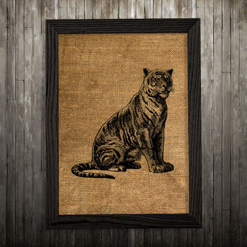 Animal print Tiger poster Wildlife art Burlap print BLP167