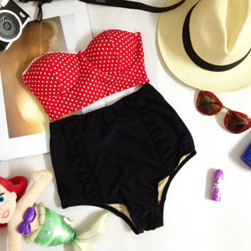 BB New vintage collection bandeau polka dot on red top and black  high waist bottom set