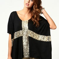 Glitter Cross Print Tunic Top