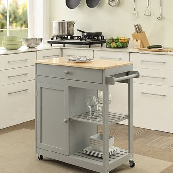 New Century® Wooden Gray Kitchen Island Cart W/ Cabinet & Towel Holder