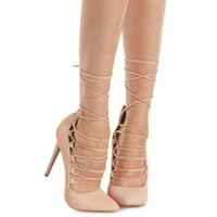 Blush Pointed Toe Lace Up Pumps by Charlotte Russe