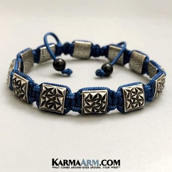 FlatBead Collection: Textured Antique Silver | Flat Bead Bracelet | Blue Cord