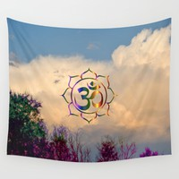 Trees Clouds Om Wall Tapestry by Azima