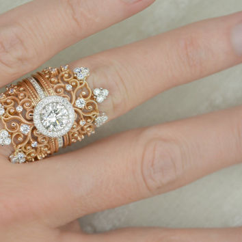 Vintage Inspired 1.75 Ct. Brilliant Round Cut Halo Cluster Diamond Scroll Engagement Ring on 14K Rose Gold