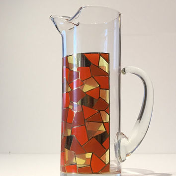 Orange and Red Mosaic Mid Century Glass Cocktail Pitcher, Mid Century Martini Pitcher, Retro Madmen Barware, Vintage Glass Martini Pitcher