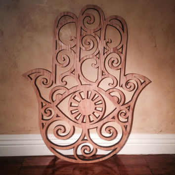 Wooden Hamsa - Wall Decor -  Wood Art - Home Decor - Protection