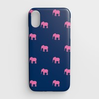 Elephant Cell Phone Case iPhone XR - Pink on Navy