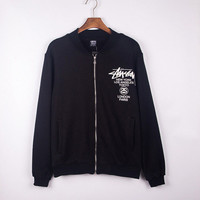 Stussy Print  Sports Zippers Hoodies Jacket Baseball Coat