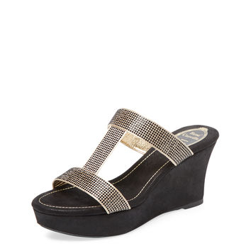 Embellished T-Strap Wedge Sandal