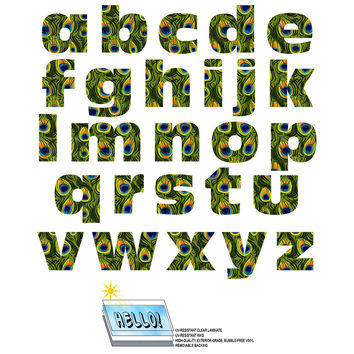 Alphabet Letters Lowercase Peacock Print Animals SLAP-STICKZ TM Laminated Wall Stickers