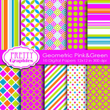 DIGITAL PAPERS -Geometric Pink&Green - Commercial Use- Instant Downloads - 12x12 JPG Files - Scrapbook Papers - High Quality 300 dpi