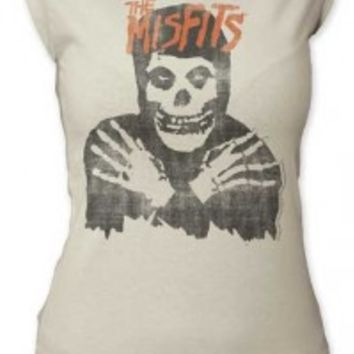 MISFITS, THE - CLASSIC SKULL DISTRESSED JUNIORS CUT TEE