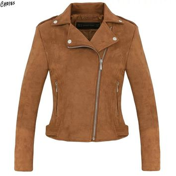 Brown Faux Suede Jacket Women Wide Lapel Epaulet Zipper Up Front Patch Worked Lining High Street Slim Autumn Biker Coat