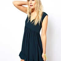 ASOS Skater Dress With Frill Hem And V Neck - Green