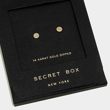 14k Gold Dipped Crystal Stud Earrings With Secret Box