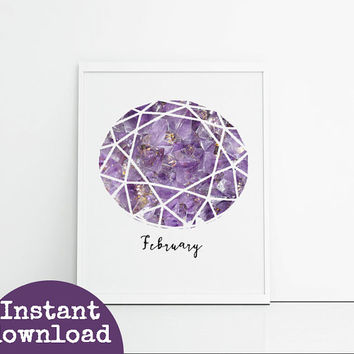Amethyst printable birthstone wall art instant download. 8x10 inch downloadable birthday gift. Purple gemstone birthday art printable