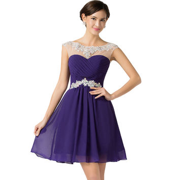 Prom Dresses Vestido Baile 2016 Cap Sleeve Beaded Sequin Chiffon Ombre Dress Galajurken Grace Karin Short Purple Blue Prom Dress