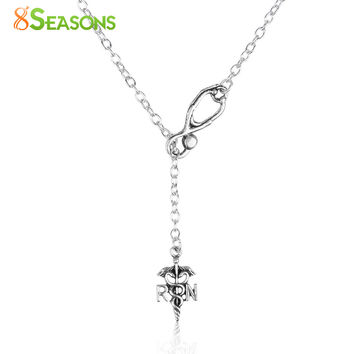 "8SEASONS Necklace Antique Silver Color Stethoscope Medical Caduceus Message "" RN "" Carved 54.5cm(21 4 8"") long 1 Piece"
