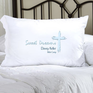 Childrens Personalized Pillow Case - Blue Message