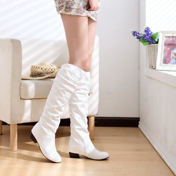 New arrive women boots autumn winter women shoes low heel knee boots slip on ladies boots  black white