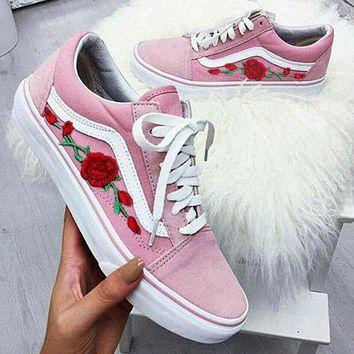 Vans Fashion Rose Embroidery Flats Shoes Sneakers Sport Shoes-2
