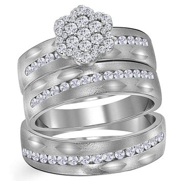 14kt White Gold His & Hers Round Diamond Matching Bridal Wedding Ring Band Set 3/4 Cttw - FREE Shipping (US/CAN)