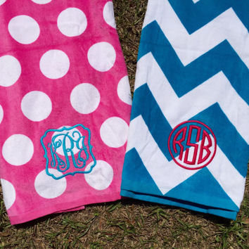 Monogrammed Beach Towel Polka dot Chevron Preppy Stripes Embroidered Beach blanket