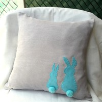 Custom Your Color. Pom Pom Rabbits Light Grey Teal Decorative Pillow Cover. Kids Room Bunny Cushion Cover Nursery Decor. Baby Shower Gift