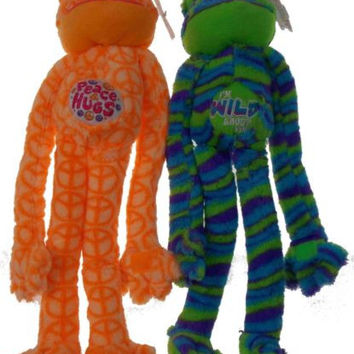 Lot 2 Peace Love Frogs Hugs Wild About You Hanging Soft Plush Embroidered