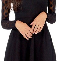 Sexy Stitching Polka Dot Mesh Patchwork Keyhole Little A-Line Dress Black S