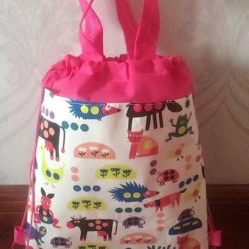Boys Backpack Bag kids children bag tote  string shoe  for sweaty clothes animal school bag for and girls to school runners AT_61_4