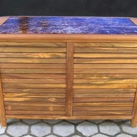 Ex-Large Teak workstation w/ 2 Doors and Granite Top | World's Best