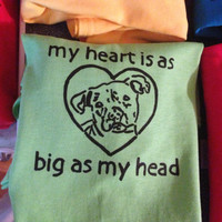 My heart is as big as my head adult hand screen printed tshirt S M L XL  Mac's Fund