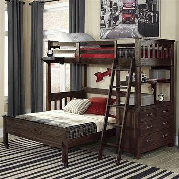 Twin over Full Bunk Bed Loft with 4-Drawer Chest and Ladder in Espresso Wood Finish